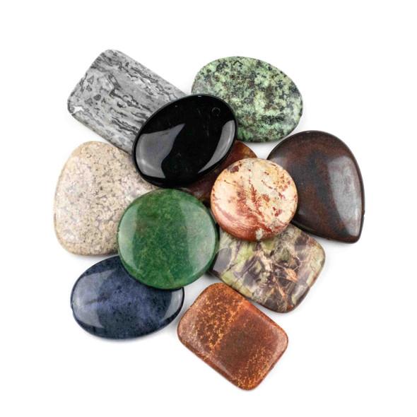 A Bulk Mix of 10 Large (20mm-40mm) Gemstone Beads