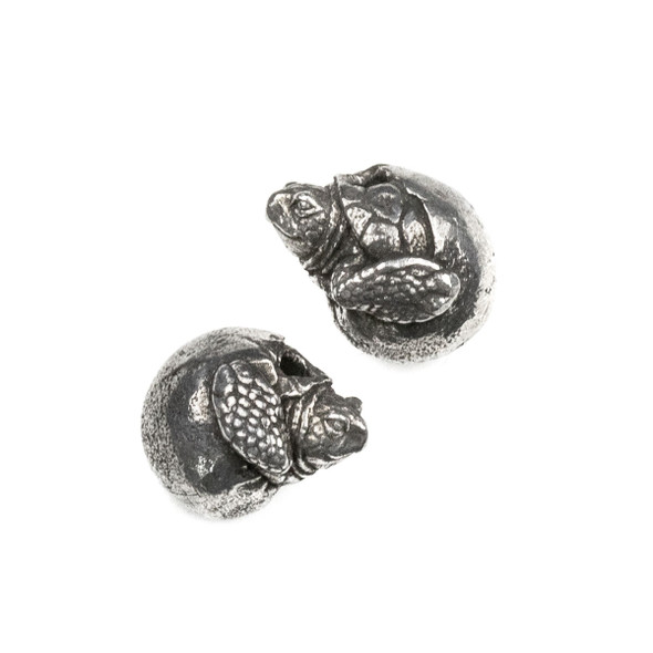 Green Girl Studios Pewter 15x21mm Baby Sea Turtle in Egg Bead - 1 per bag