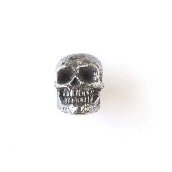 Green Girl Studios Pewter 13x18mm Smiling Skull Bead - 1 per bag