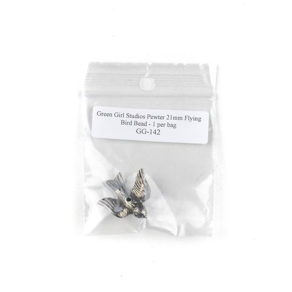Green Girl Studios Pewter 21mm Flying Bird Bead - 1 per bag