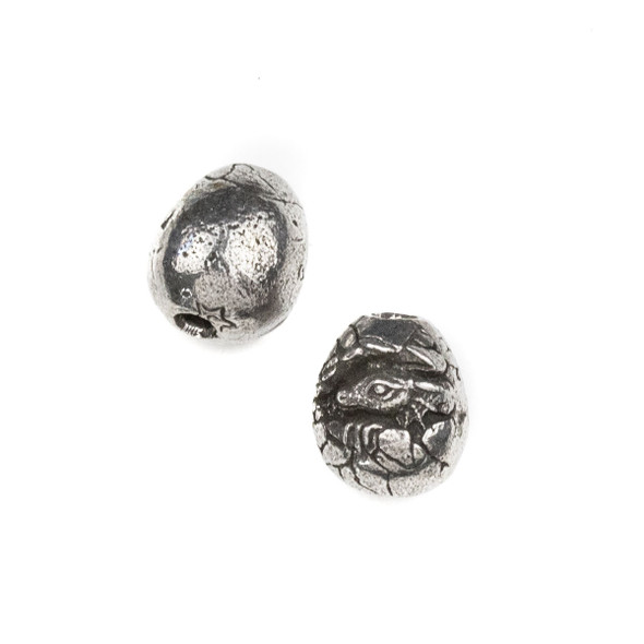 Green Girl Studios Pewter 13x15mm Baby Dragon in Egg Bead - 1 per bag