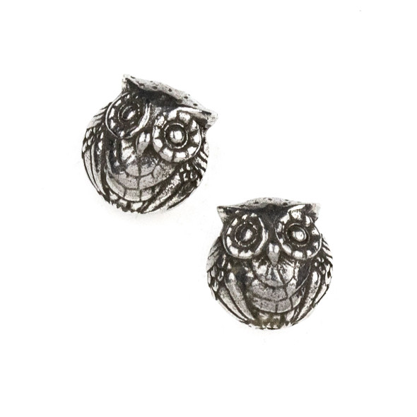 Green Girl Studios Pewter 14mm Double Sided Owl Bead - 1 per bag
