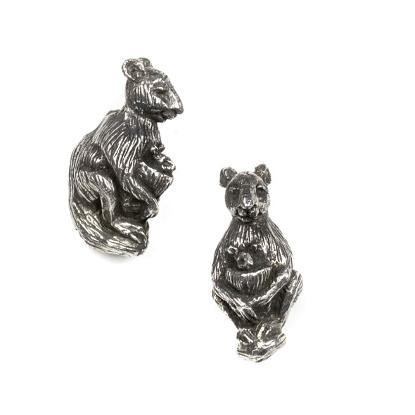 Green Girl Studios Pewter 15x32mm Mama Kangaroo with Joey Bead - 1 per bag