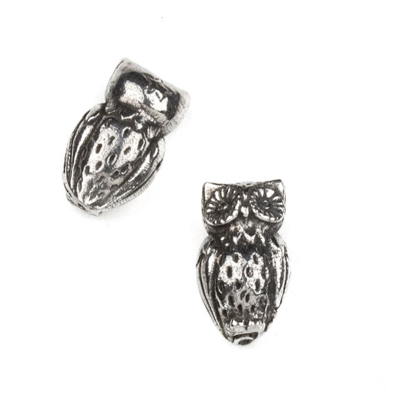 Green Girl Studios Pewter 11x18mm Horned Owl Bead - 1 per bag
