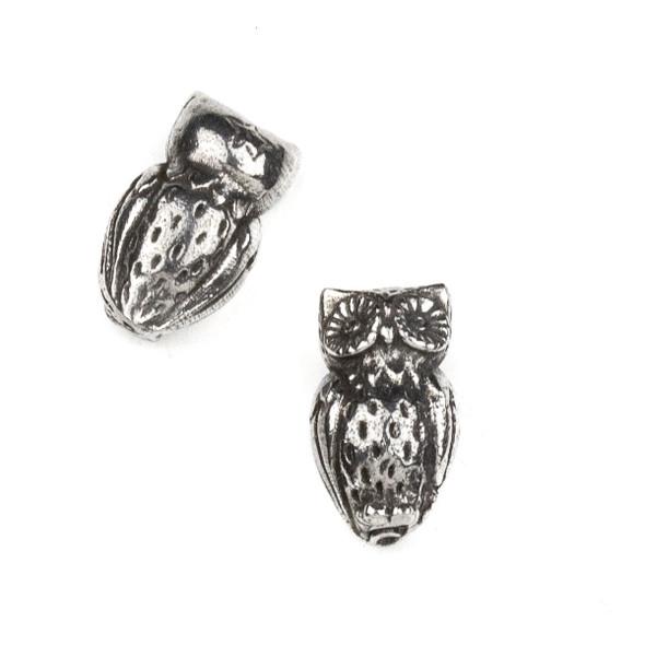 Green Girl Studios Pewter 11x18mm Horned Owl Bead - 1 per bag