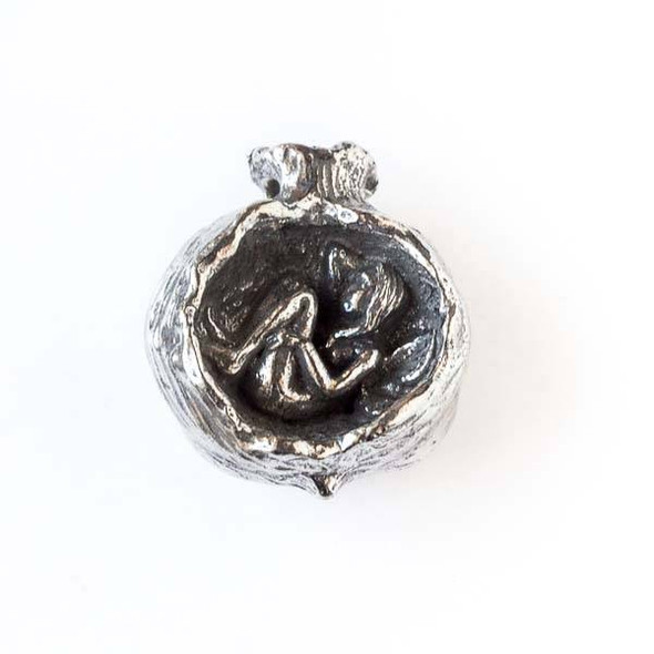 Green Girl Studios Pewter 25x29mm Pomegranate Fairy Pendant - 1 per bag