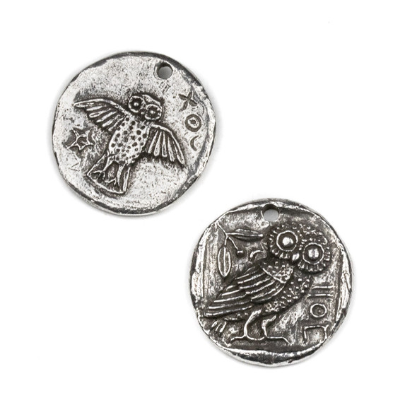 Green Girl Studios Pewter 16mm Owl Double Sided Coin Pendant - 1 per bag