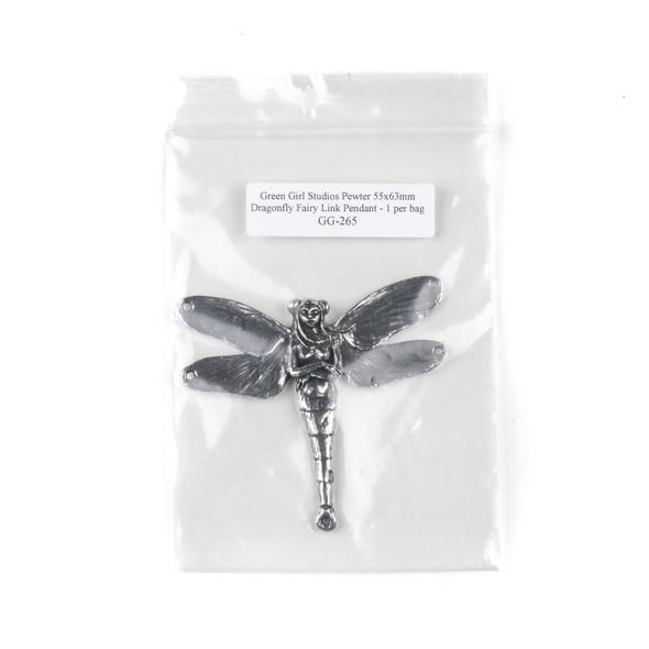 Green Girl Studios Pewter 55x63mm Dragonfly Fairy Link Pendant - 1 per bag