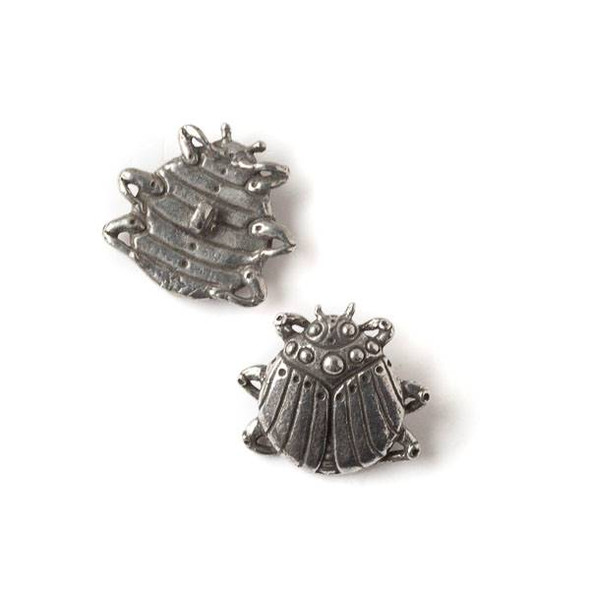 Green Girl Studios Pewter 22x24mm Scarab Button - 1 per bag