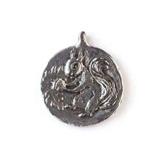 Green Girl Studios Pewter 20x24mm Squirrel Charm - 1 per bag