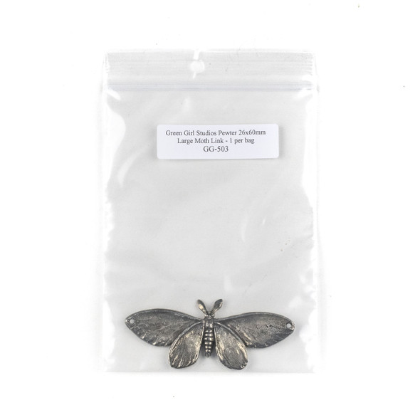 Green Girl Studios Pewter 26x60mm Large Moth Link - 1 per bag