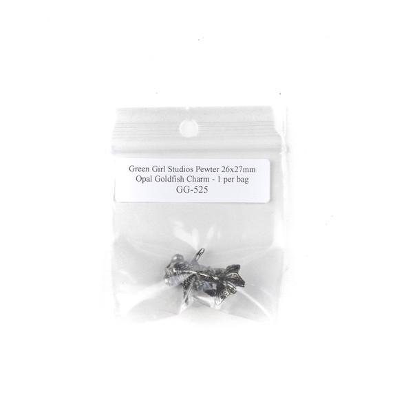 Green Girl Studios Pewter 26x27mm Opal Goldfish Charm - 1 per bag