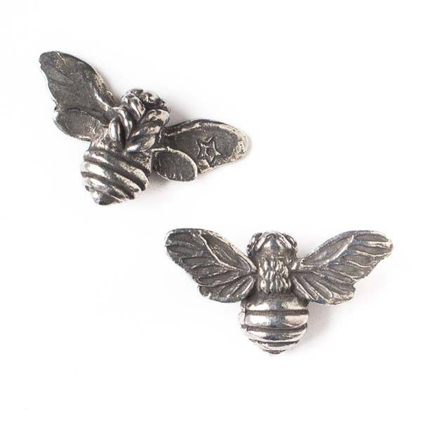 Green Girl Studios Pewter 33x18mm Large Honey Bee Pendant - 1 per bag