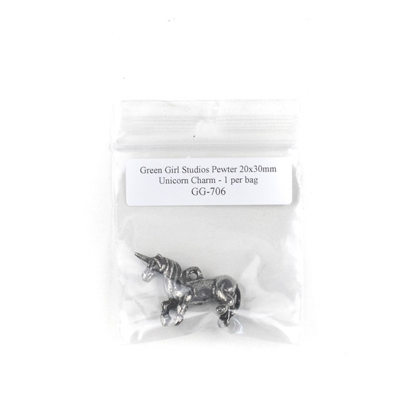 Green Girl Studios Pewter 20x30mm Unicorn Charm - 1 per bag