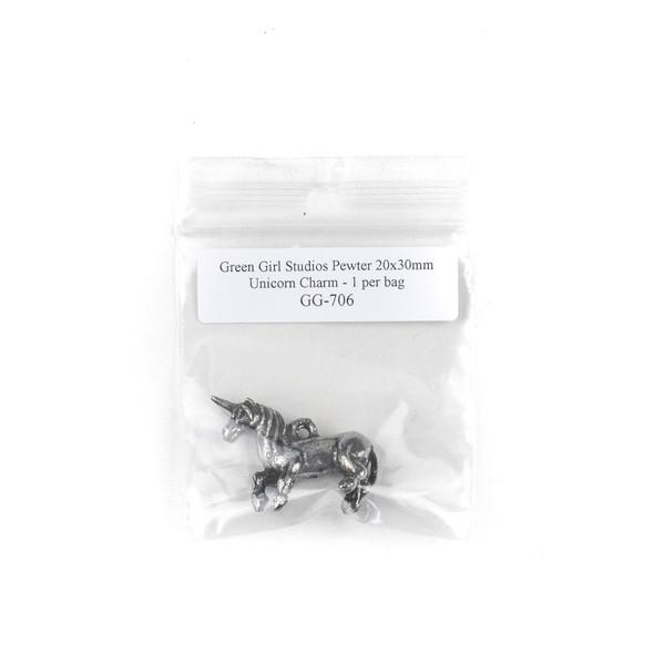 Green Girl Studios Pewter 20x30mm Unicorn Charm - 1 per bag