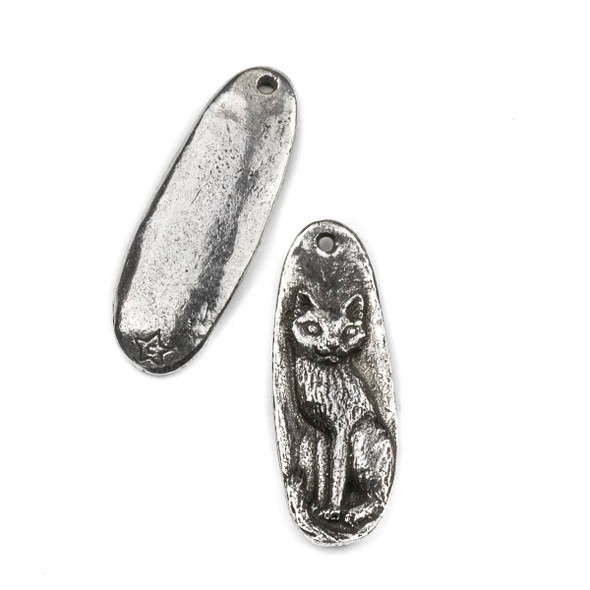 Green Girl Studios Pewter 14x38mm Sitting Cat Pendant - 1 per bag