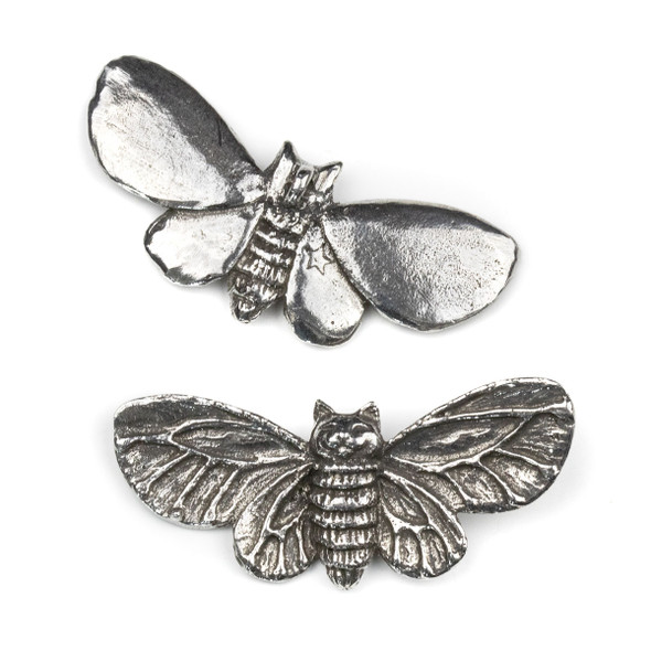 Green Girl Studios Pewter 28x58mm Kitty Moth Pendant - 1 per bag
