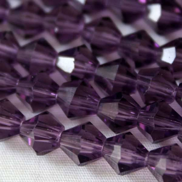 Glass Crystal Faceted 6mm Lilac Bicone - approx. 8 inch strand