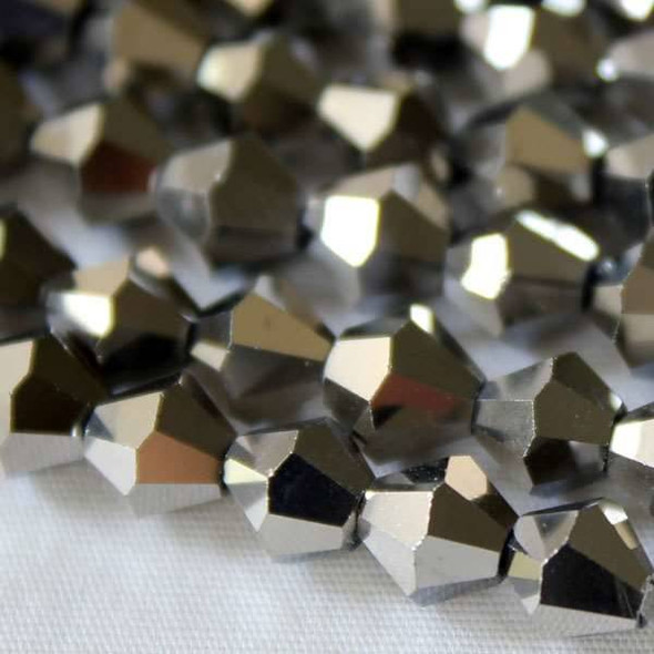 Glass Crystal Faceted 6mm Silver Bicone - approx. 8 inch strand