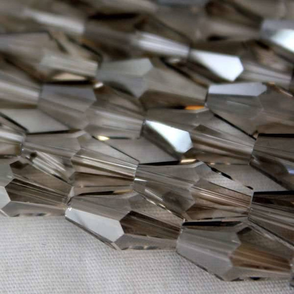 Glass Crystal Faceted 6x12mm Black Diamond Long Bicone - approx. 8 inch strand