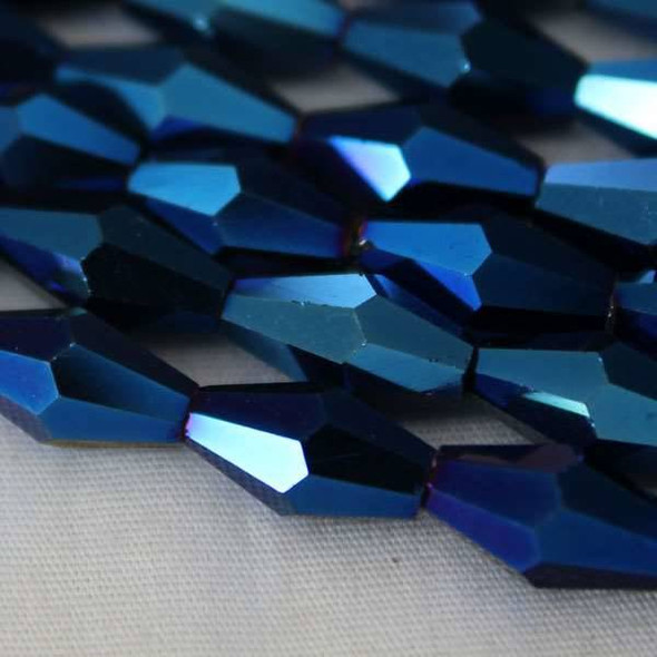 Glass Crystal Faceted 6x12mm Opaque Blue Rainbow Long Bicone - approx. 8 inch strand
