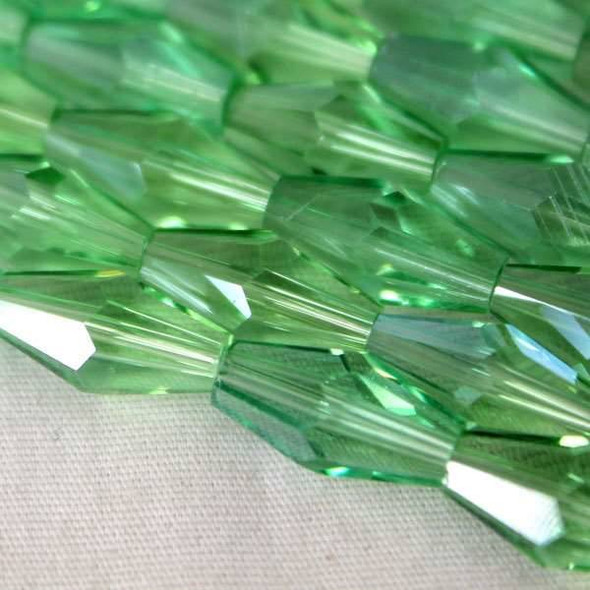 Glass Crystal Faceted 6x12mm Chrysolite Long Bicone - approx. 8 inch strand