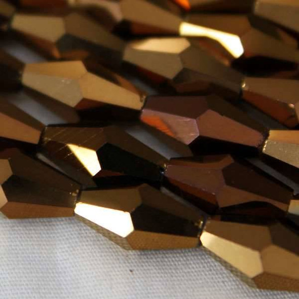 Glass Crystal Faceted 6x12mm Copper Long Bicone - approx. 8 inch strand