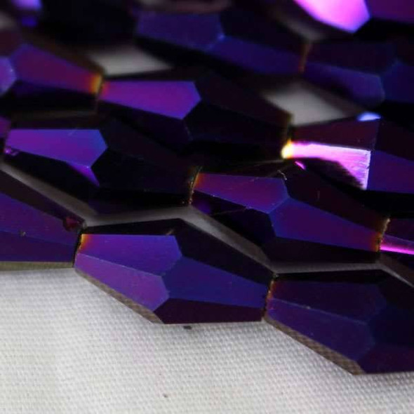 Glass Crystal Faceted 6x12mm Purple Rainbow Long Bicone - approx. 8 inch strand