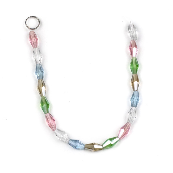 Crystal Faceted 6x12mm Long Bicones in a Spring Mix - approx. 8 inch strand