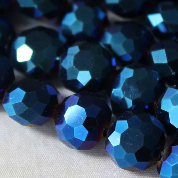 Glass Crystal Faceted 10mm Opaque Blue Rainbow Coin - approx. 8 inch strand
