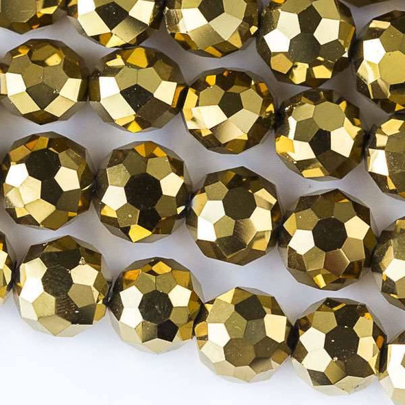 Glass Crystal Faceted 10mm Gold Coin - approx. 8 inch strand