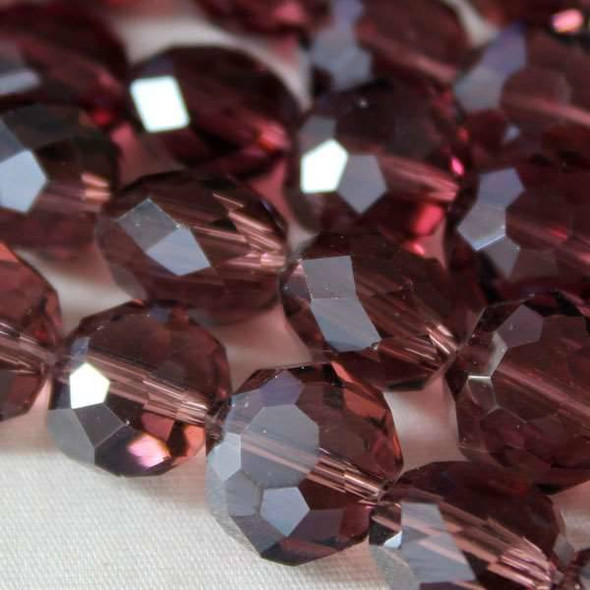 Glass Crystal Faceted 10mm Medium Amethyst Coin - approx. 8 inch strand
