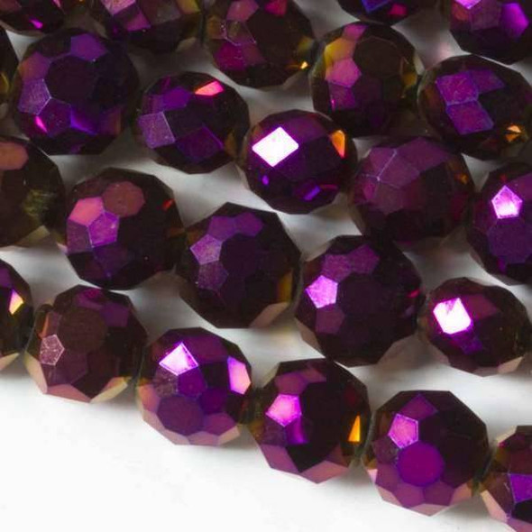Glass Crystal Faceted 10mm Purple Rainbow Coin - approx. 8 inch strand