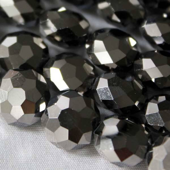 Glass Crystal Faceted 10mm Silver Coin - approx. 8 inch strand