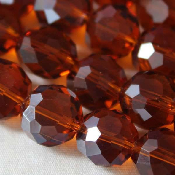 Glass Crystal Faceted 10mm Topaz Coin - approx. 8 inch strand