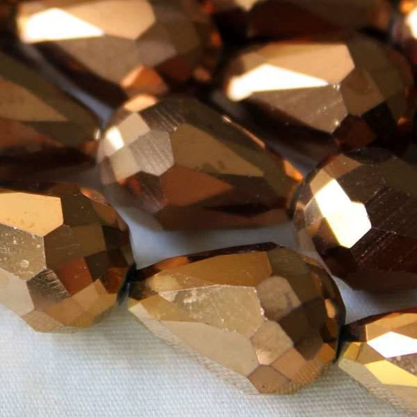 Glass Crystal 10x15mm Copper Rounded Teardrop - approx. 8 inch strand