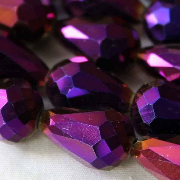 Glass Crystal 10x15mm Purple Rainbow Rounded Teardrop - approx. 8 inch strand