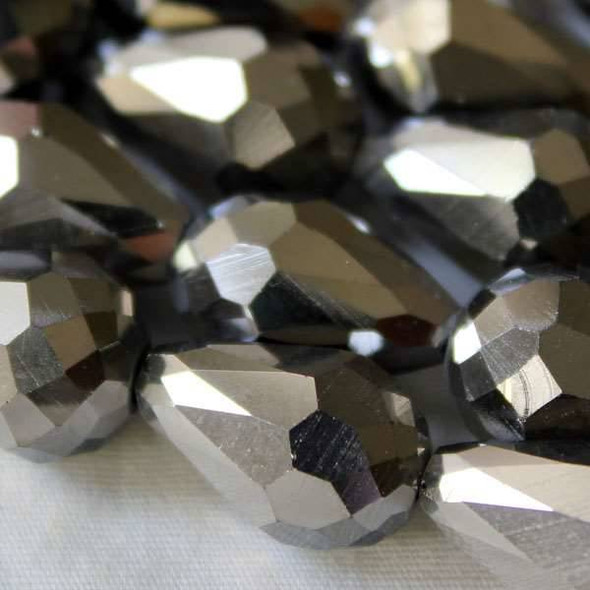 Glass Crystal 10x15mm Silver Rounded Teardrop - approx. 8 inch strand