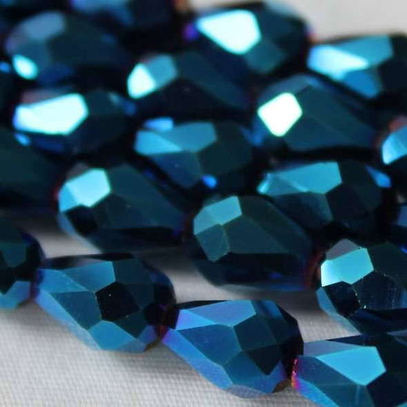 Glass Crystal 6x8mm Opaque Blue Rainbow Rounded Teardrop - approx. 8 inch strand