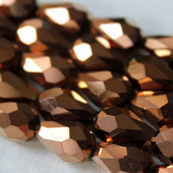 Glass Crystal 6x8mm Copper Rounded Teardrop - approx. 8 inch strand