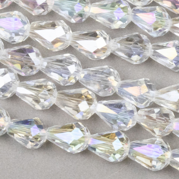 Crystal 6x8mm Crystal  Rounded Teardrop with an AB finish - approx. 8 inch strand