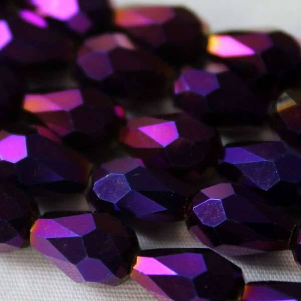 Glass Crystal 6x8mm Purple Rainbow Rounded Teardrop - approx. 8 inch strand