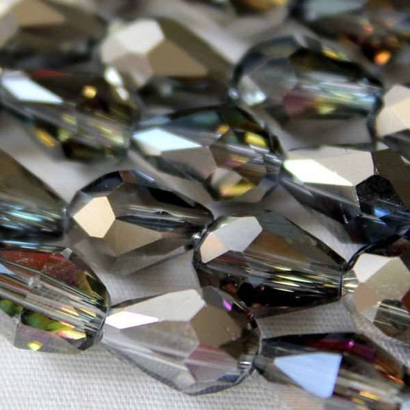 Glass Crystal 6x8mm Rainbow Rounded Teardrop - approx. 8 inch strand