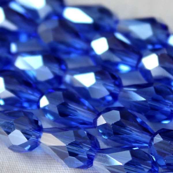 Glass Crystal 6x8mm Sapphire Rounded Teardrop - approx. 8 inch strand