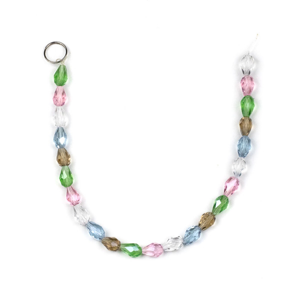 Crystal 6x8mm Rounded Teardrops in a Spring Mix - approx. 8 inch strand