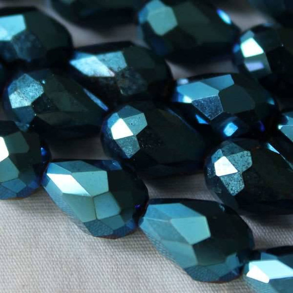 Glass Crystal 8x11mm Opaque Blue Rainbow Rounded Teardrop - approx. 8 inch strand