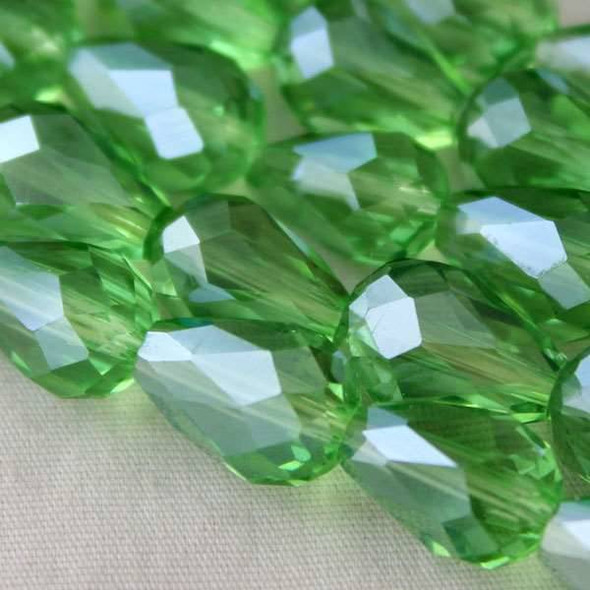 Glass Crystal 8x11mm Chrysolite Rounded Teardrop - approx. 8 inch strand