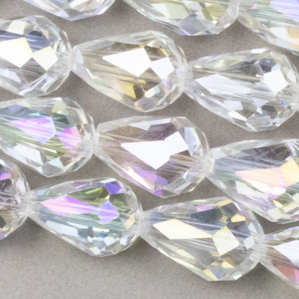 Crystal 8x11mm Crystal Rounded Teardrop with an AB finish - approx. 8 inch strand