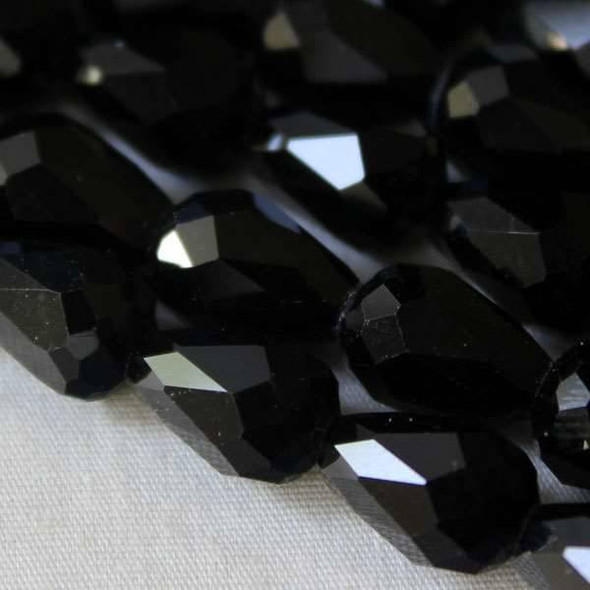 Glass Crystal 8x11mm Jet Rounded Teardrop - approx. 8 inch strand