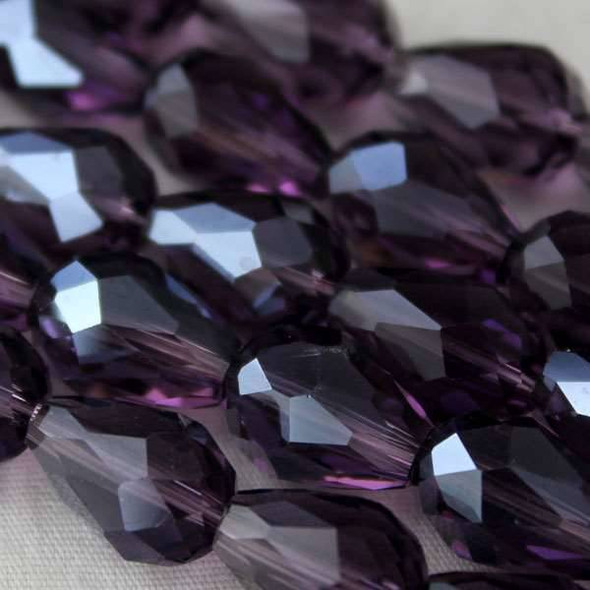 Glass Crystal 8x11mm Lilac Rounded Teardrop - approx. 8 inch strand